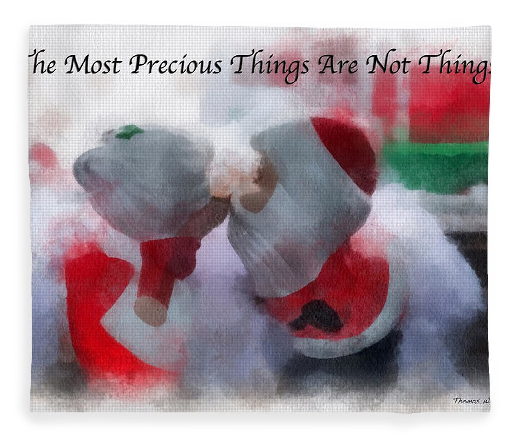 Christmas Fleece Blanket featuring the photograph Santa The Most Precious Photo Art by Thomas Woolworth
