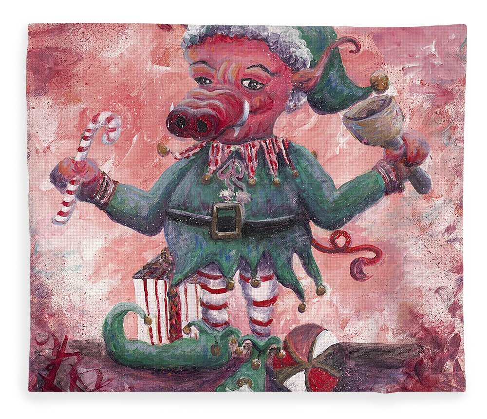 Elf Fleece Blanket featuring the painting Santa's Littlest Elf Hog by Nadine Rippelmeyer