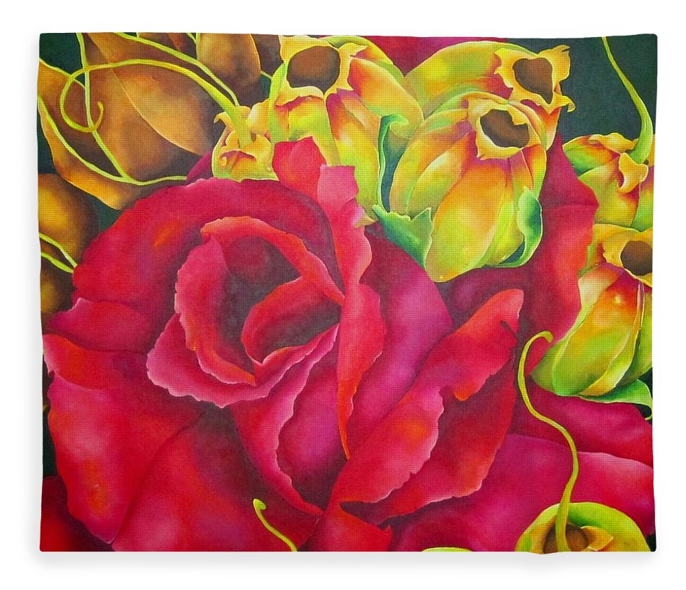 Red Fleece Blanket featuring the painting Scarlett by Elizabeth Elequin