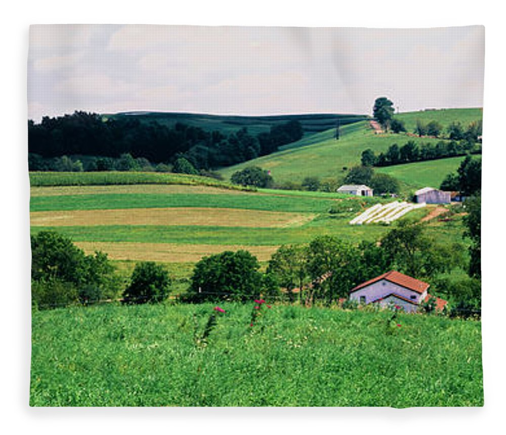 Photography Fleece Blanket featuring the photograph Scenic View Of A Farm, Amish Country by Panoramic Images