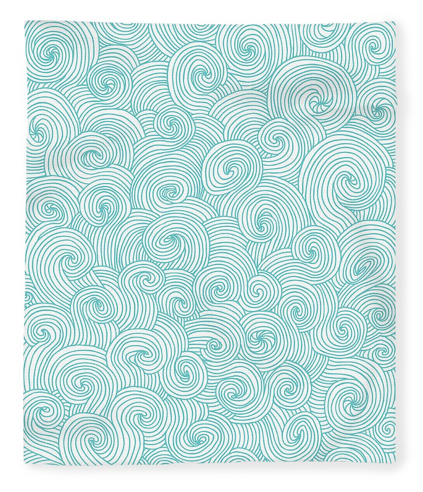 Curve Fleece Blanket featuring the digital art Seamless Pattern Of Doodle Swirls And by Beastfromeast