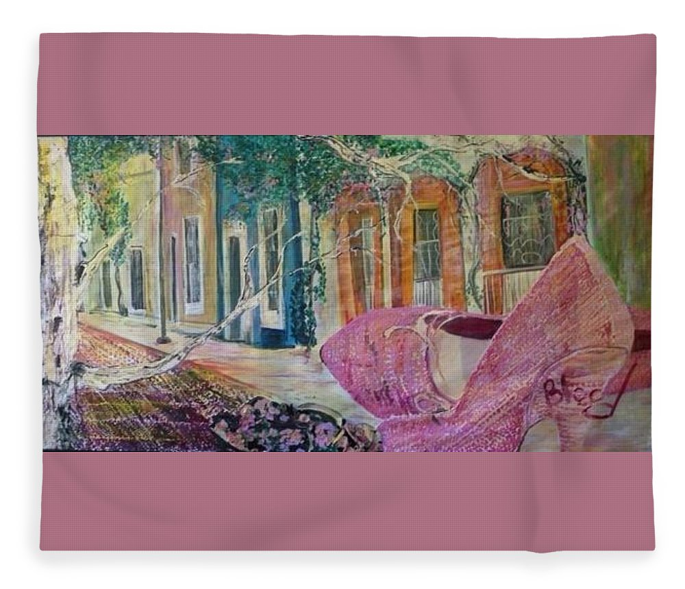 Shoes Fleece Blanket featuring the painting Searching by Peggy Blood