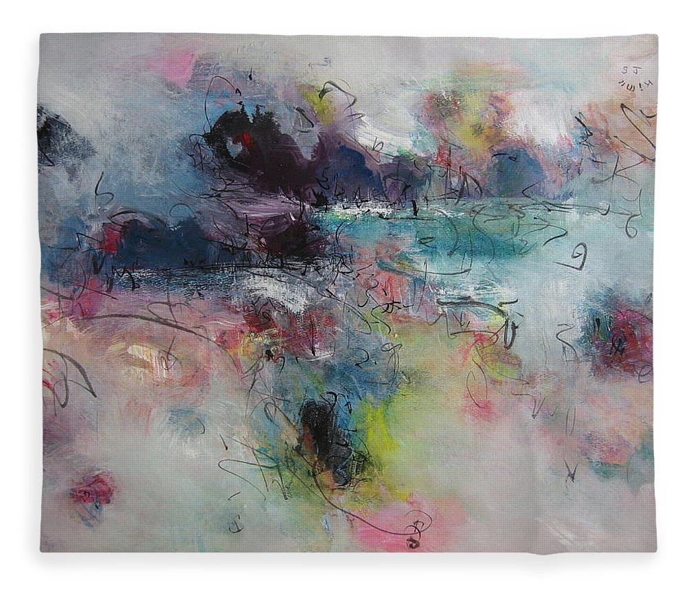 Green Purple Paintings Fleece Blanket featuring the painting Seascape00031 by Seon-Jeong Kim