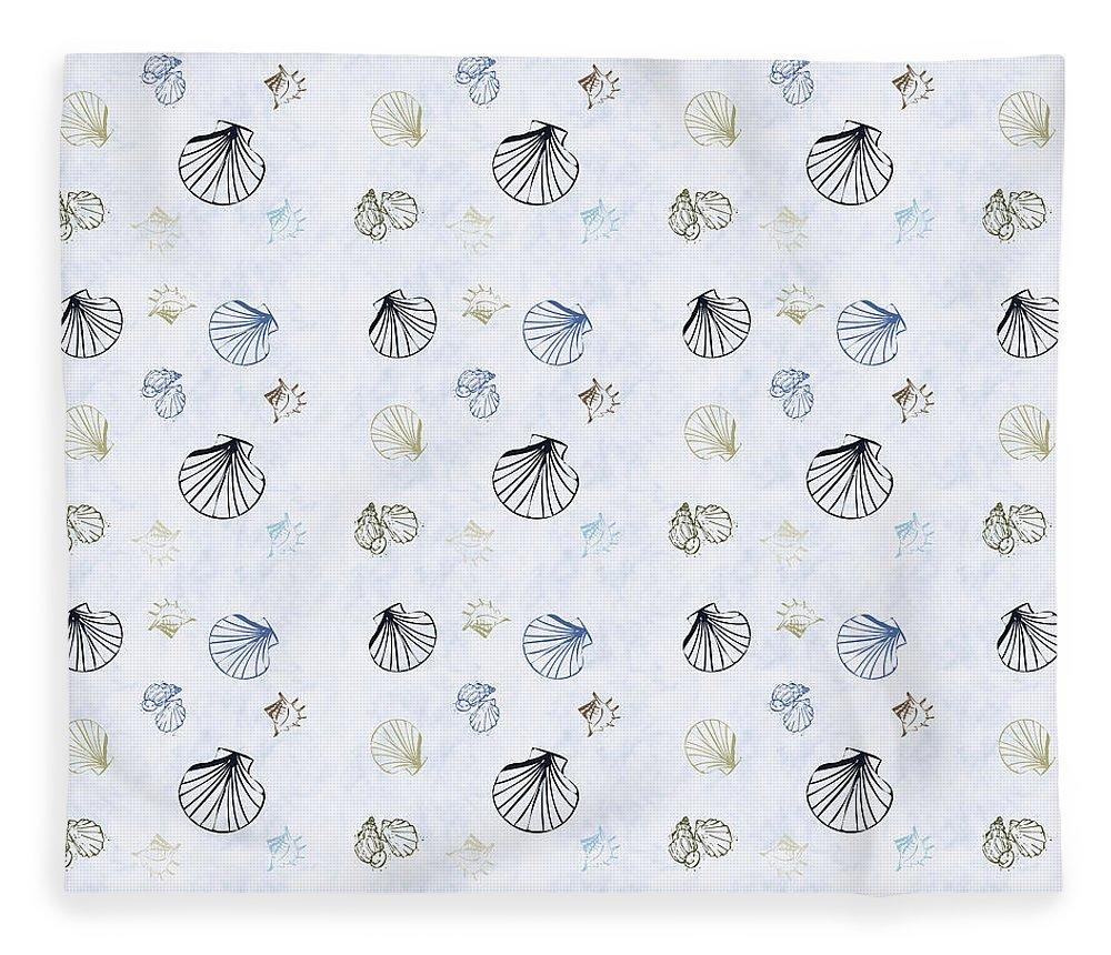 Seashell Fleece Blanket featuring the mixed media Seashell Pattern by Christina Rollo
