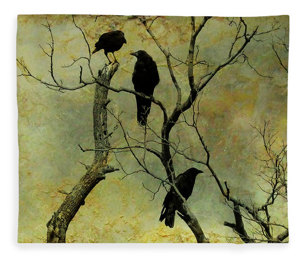 Crows Fleece Blanket featuring the photograph Secretive Crows by Gothicrow Images