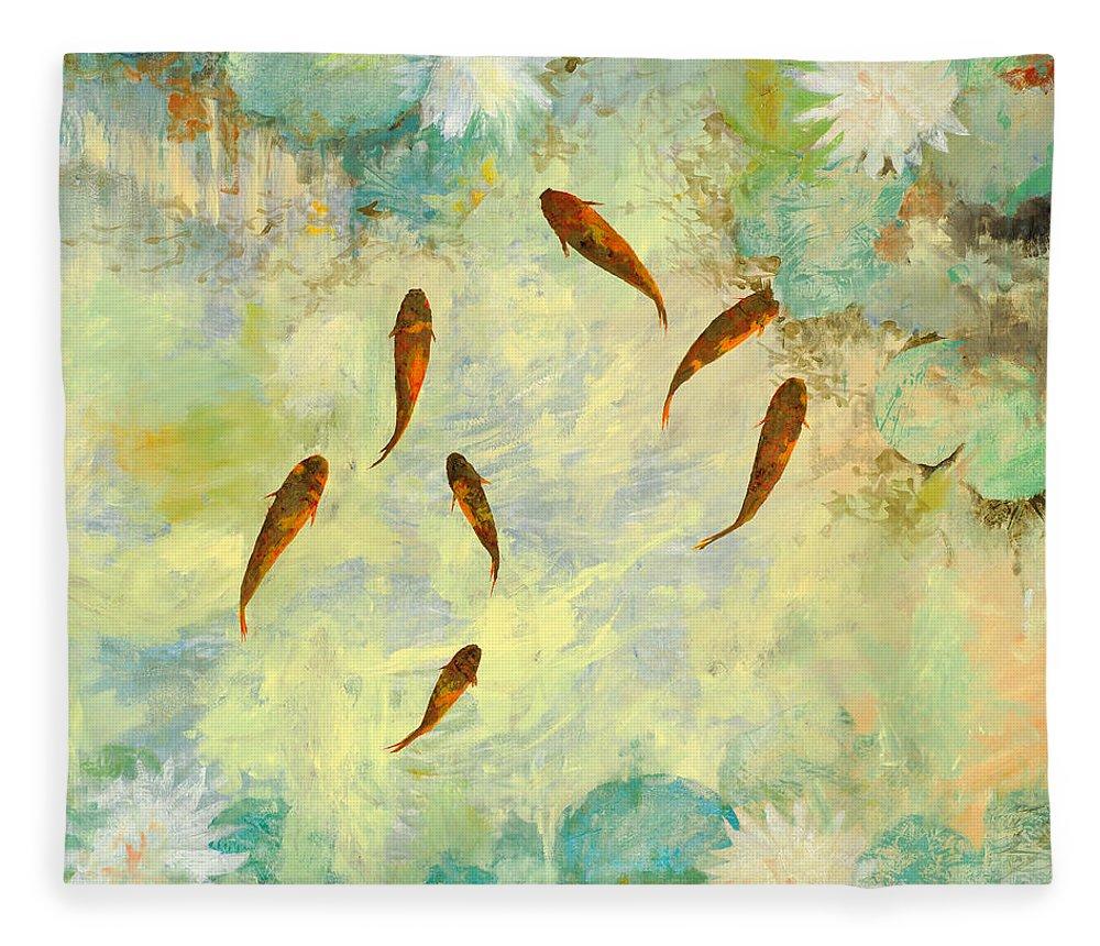 Koi Fleece Blanket featuring the painting Sei Pesciolini Verdi by Guido Borelli