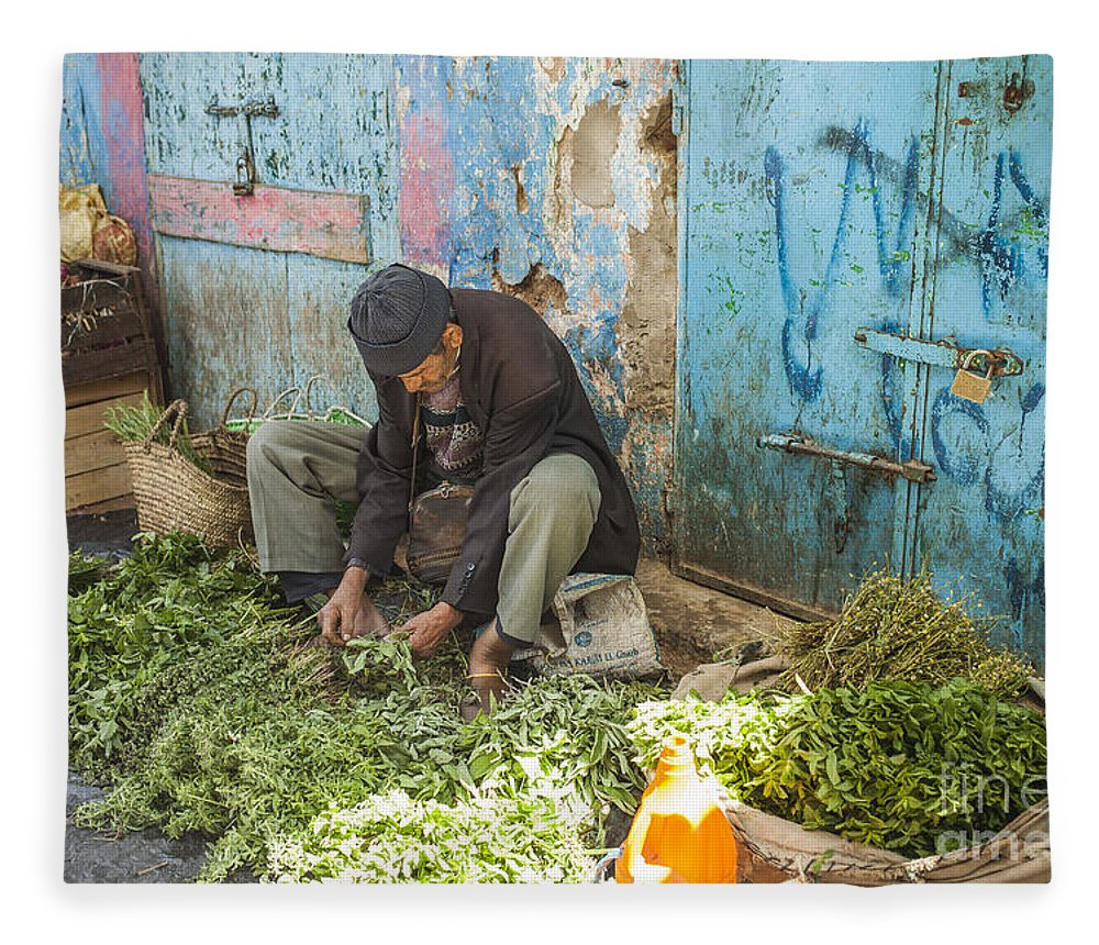 Market Fleece Blanket featuring the photograph Selling Herbs In The Souk by Patricia Hofmeester