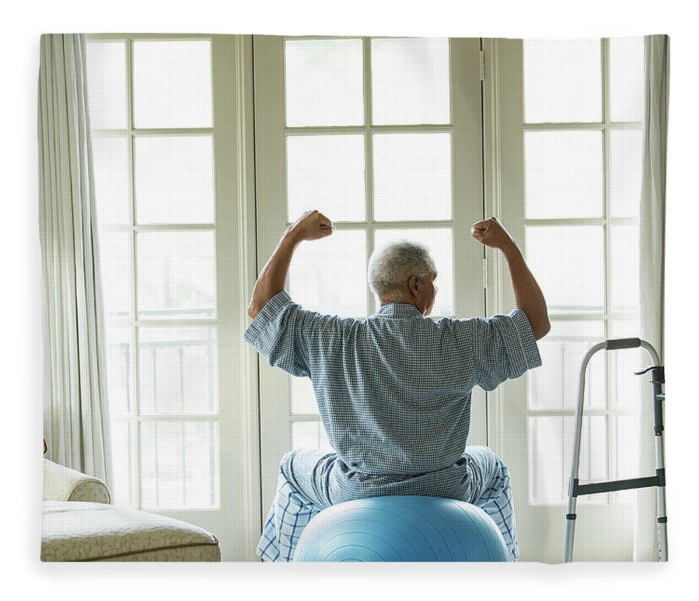 Human Arm Fleece Blanket featuring the photograph Senior African American Man On Fitness by Tvp Inc