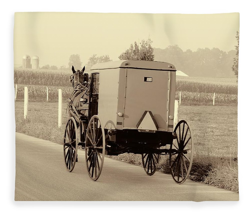 Sepia Amish Buggy Fleece Blanket featuring the photograph Sepia Amish Buggy by Dan Sproul
