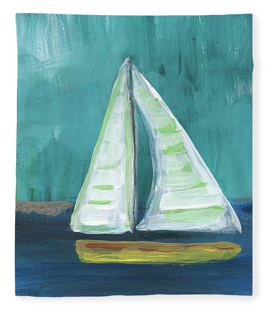 Boat Fleece Blanket featuring the painting Set Free- Sailboat Painting by Linda Woods