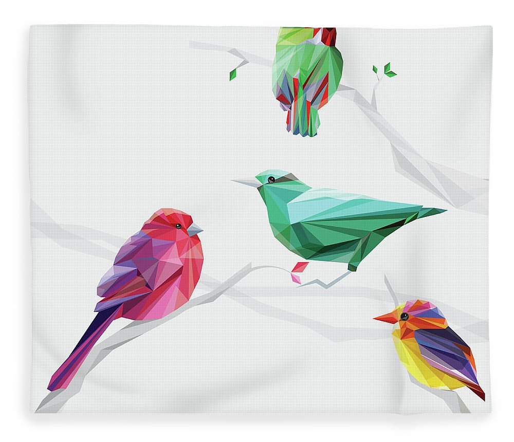 Funky Fleece Blanket featuring the digital art Set Of Abstract Geometric Colorful Birds by Pika111