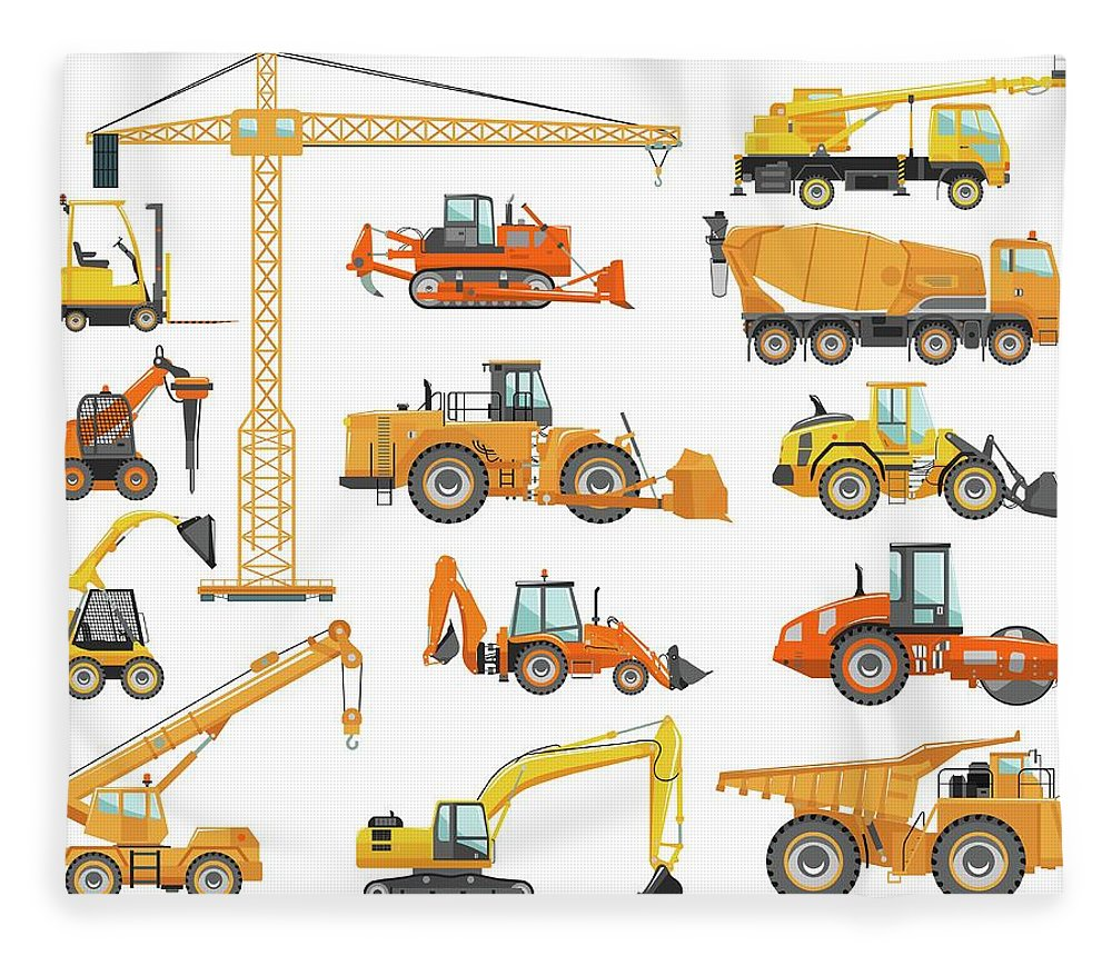 Hydraulic Platform Fleece Blanket featuring the digital art Set Of Detailed Heavy Construction And by Alexyustus