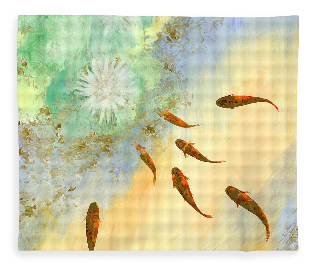 Koi Fleece Blanket featuring the painting Sette Pesciolini Verdi by Guido Borelli