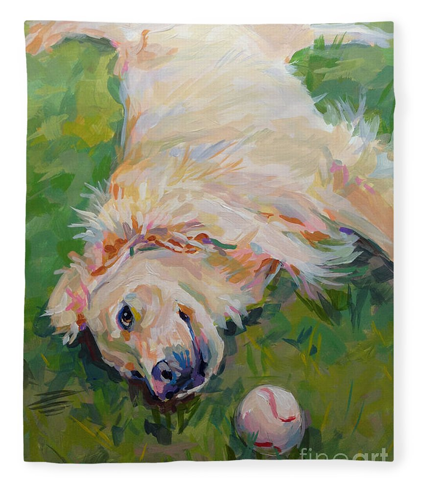 Golden Fleece Blanket featuring the painting Seventh Inning Stretch by Kimberly Santini