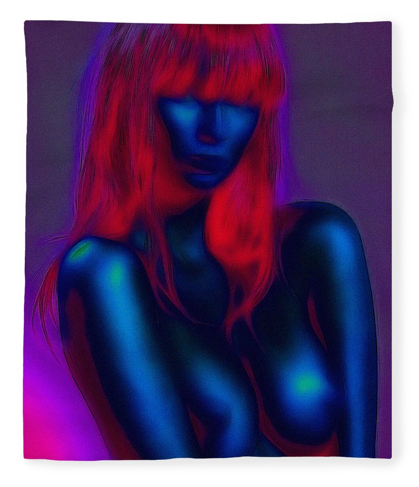 Sexy Babe Girl Female Woman Nude Naked Boobs Tits Breast Sensual Erotic Red Hair Fleece Blanket featuring the painting Sexy Babe by Steve K