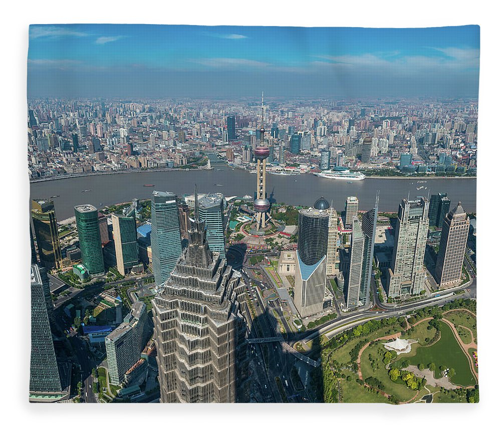 Chinese Culture Fleece Blanket featuring the photograph Shanghai Aerial View Over Pundong by Fotovoyager