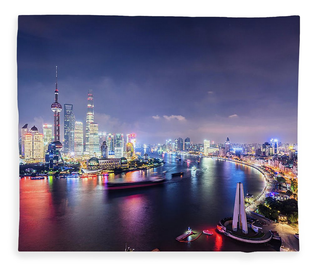 Downtown District Fleece Blanket featuring the photograph Shanghai Skyline At Night by Yongyuan Dai