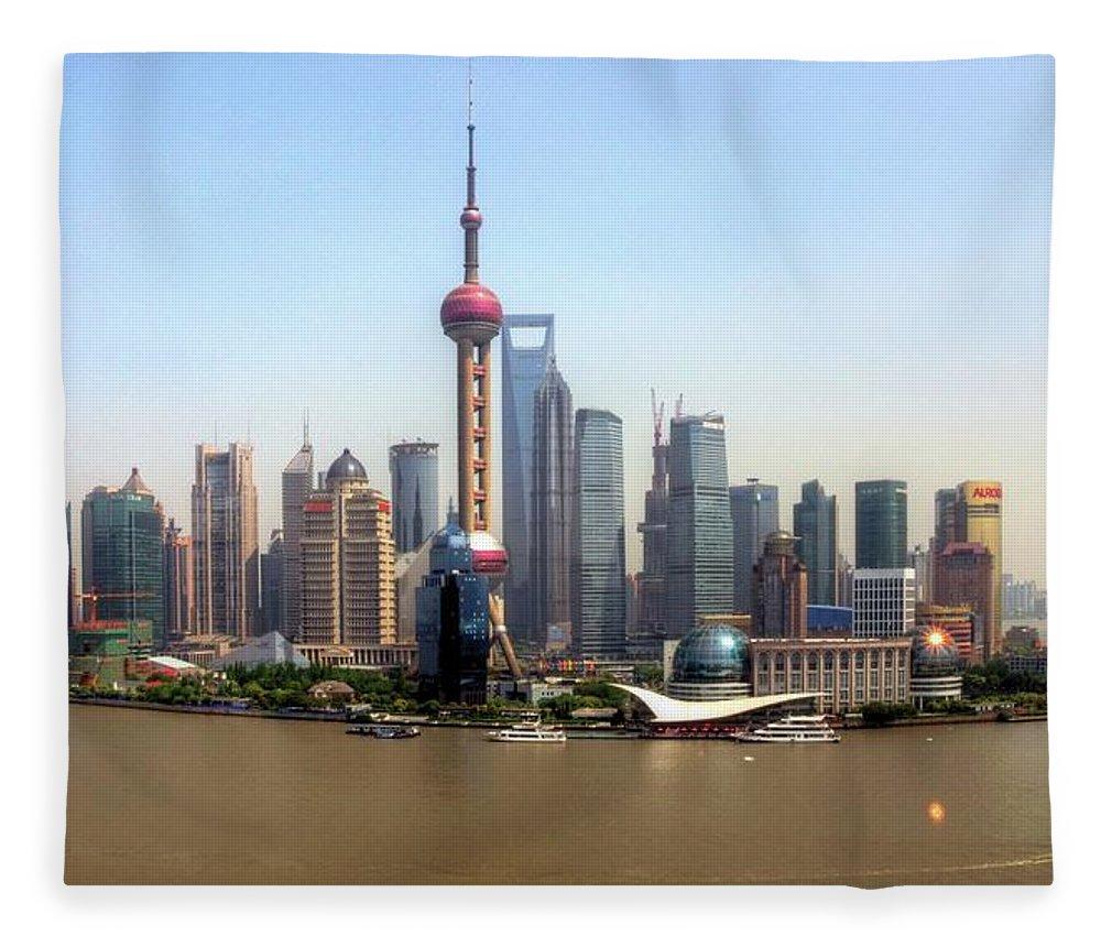 Outdoors Fleece Blanket featuring the photograph Shanghai Skyline by Mariusz Kluzniak