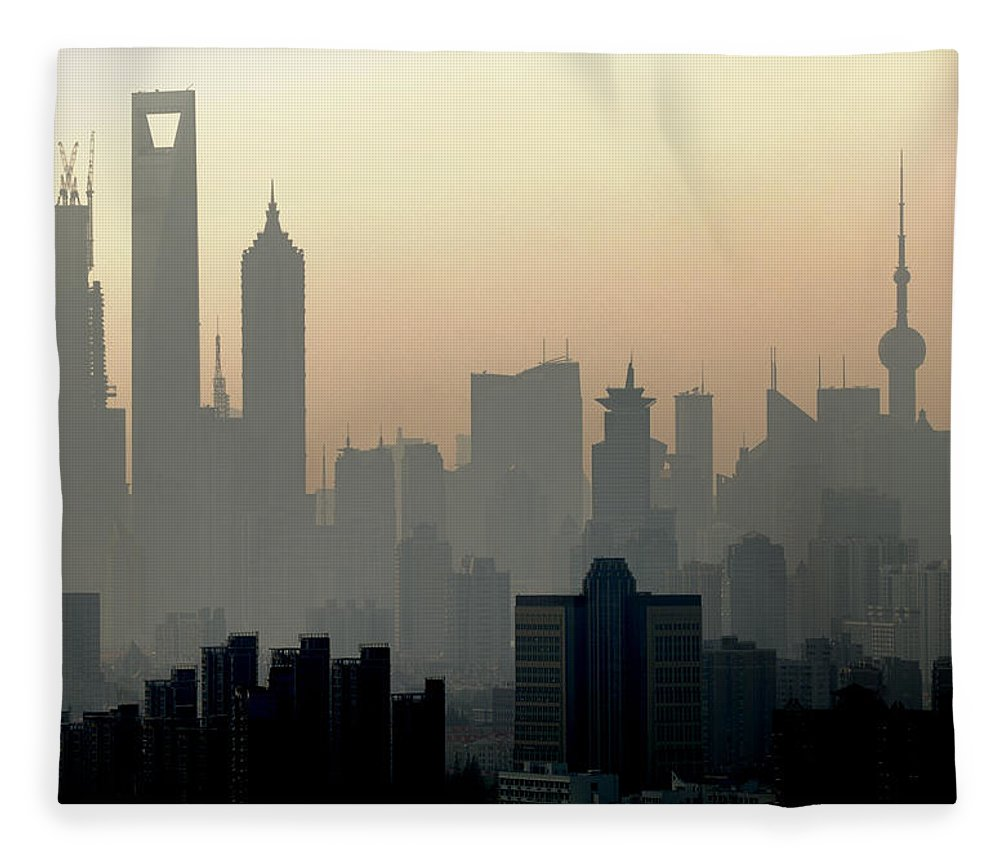Dawn Fleece Blanket featuring the photograph Shanghai Skyline Three Towers And Perl by Douglas Von Roy