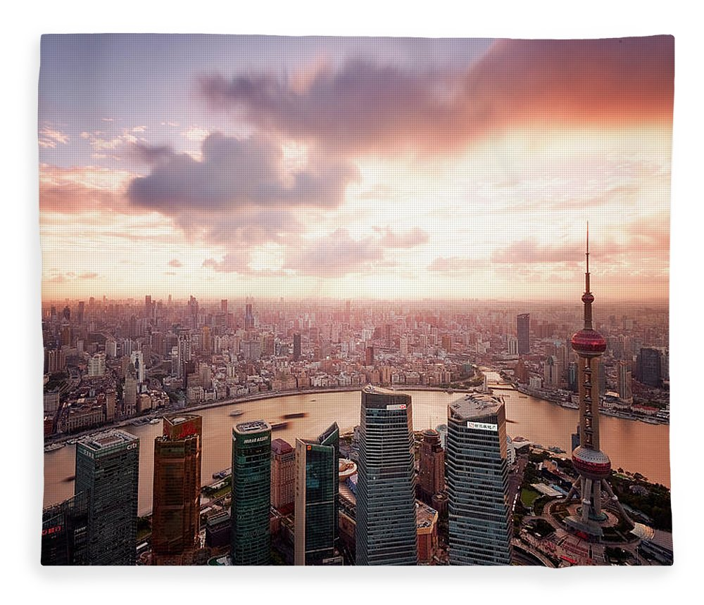 Tranquility Fleece Blanket featuring the photograph Shanghai With Drifting Clouds by Blackstation