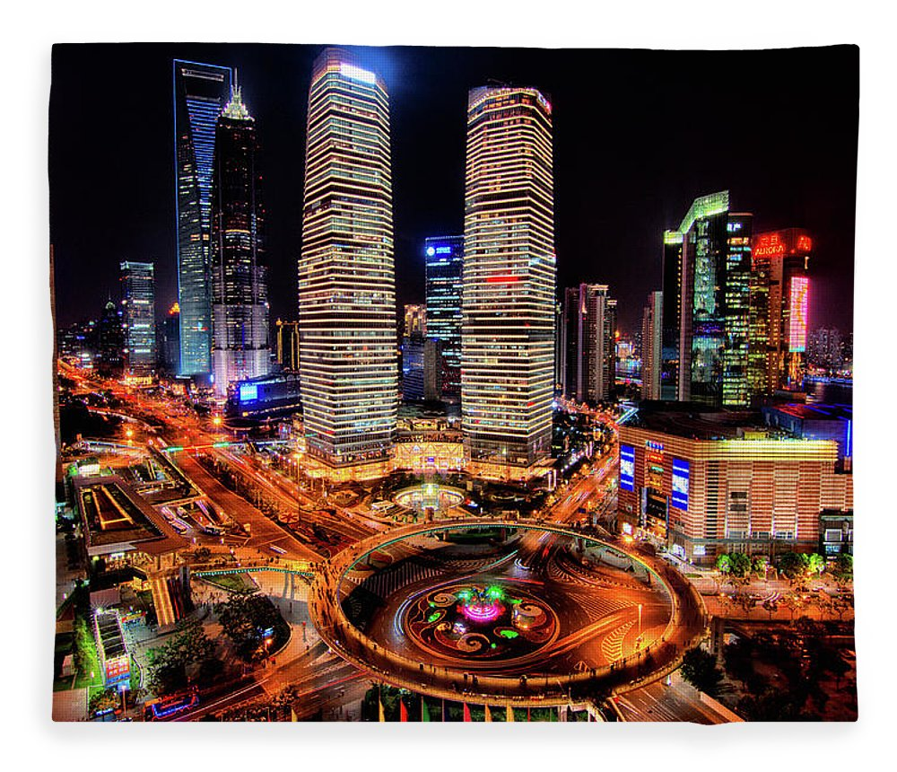 Financial District Fleece Blanket featuring the photograph Shanghais Financial City Center by Mimo Khair Photography