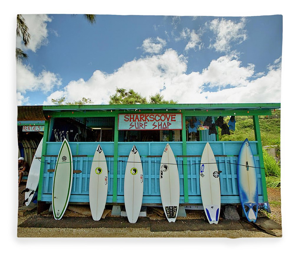 People Fleece Blanket featuring the photograph Sharks Cove Surf Shop With New by Merten Snijders