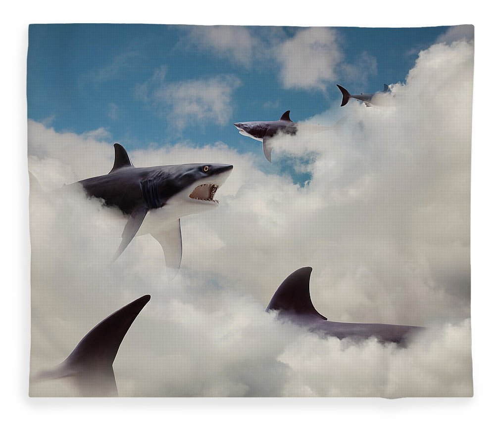 Risk Fleece Blanket featuring the photograph Sharks Floating In Clouds by John M Lund Photography Inc