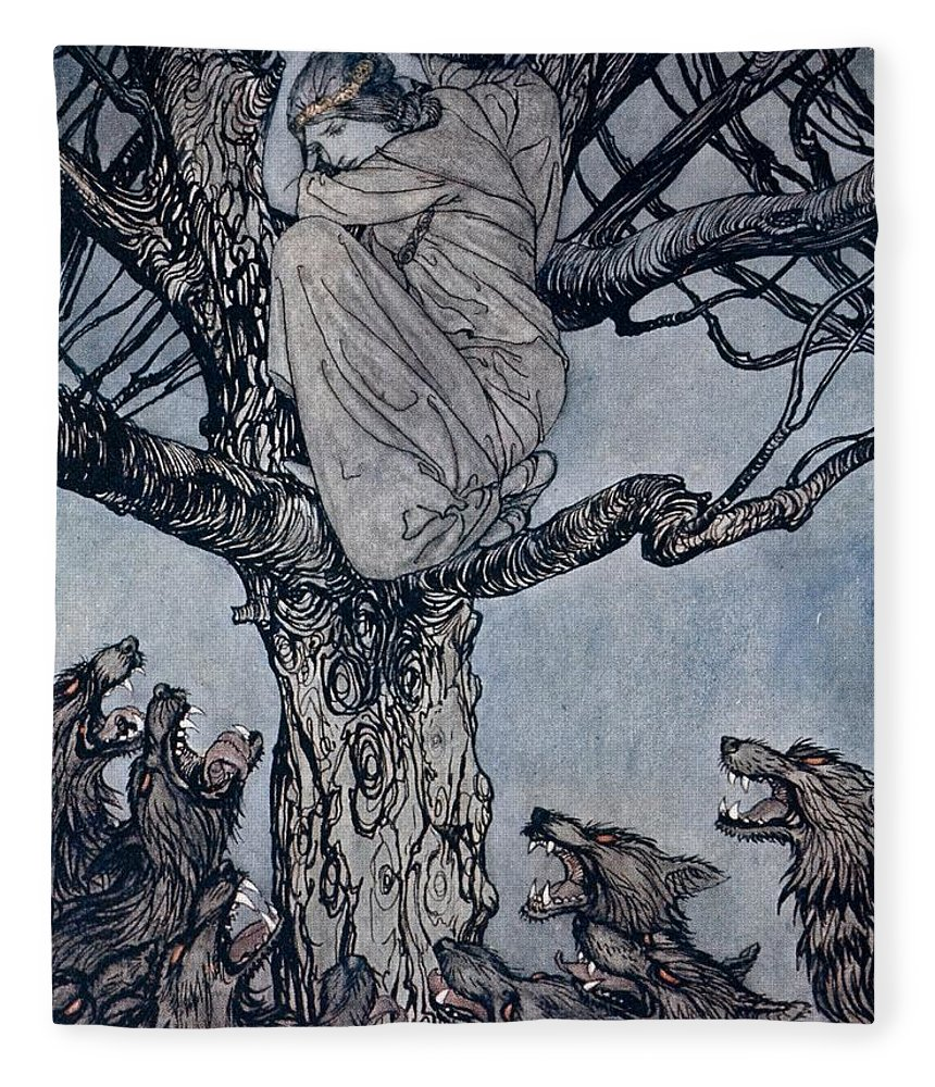 Fairy Story; Fairy Tale; Female; Tree; Wolf; Snarling; Branches; Hiding; Princess; Irish Mythology; Myth; Legend Fleece Blanket featuring the drawing She Looked With Angry Woe At The Straining And Snarling Horde Below Illustration From Irish Fairy by Arthur Rackham