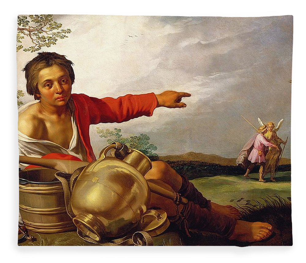 Pointing Fleece Blanket featuring the painting Shepherd Boy Pointing At Tobias And The Angel by Abraham Bloemaert