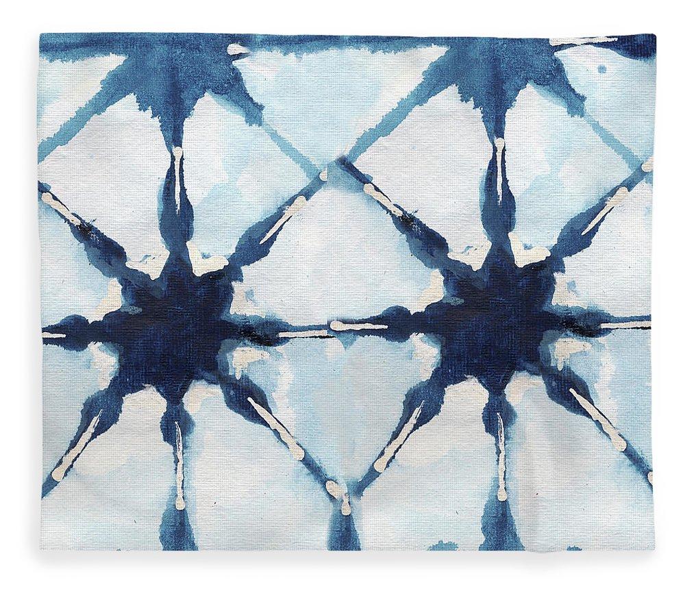 Shibori Fleece Blanket featuring the digital art Shibori II by Elizabeth Medley