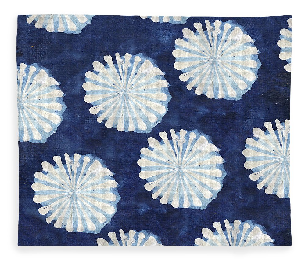 Shibori Fleece Blanket featuring the digital art Shibori IIi by Elizabeth Medley