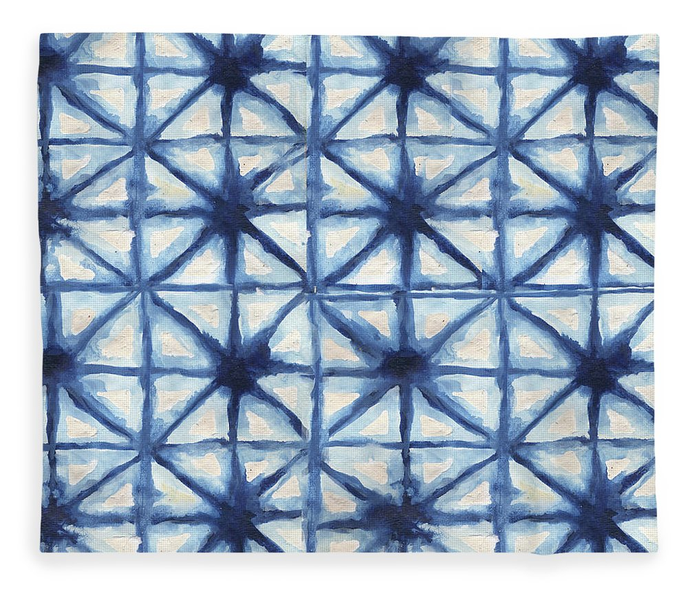 Shibori Fleece Blanket featuring the digital art Shibori Iv by Elizabeth Medley
