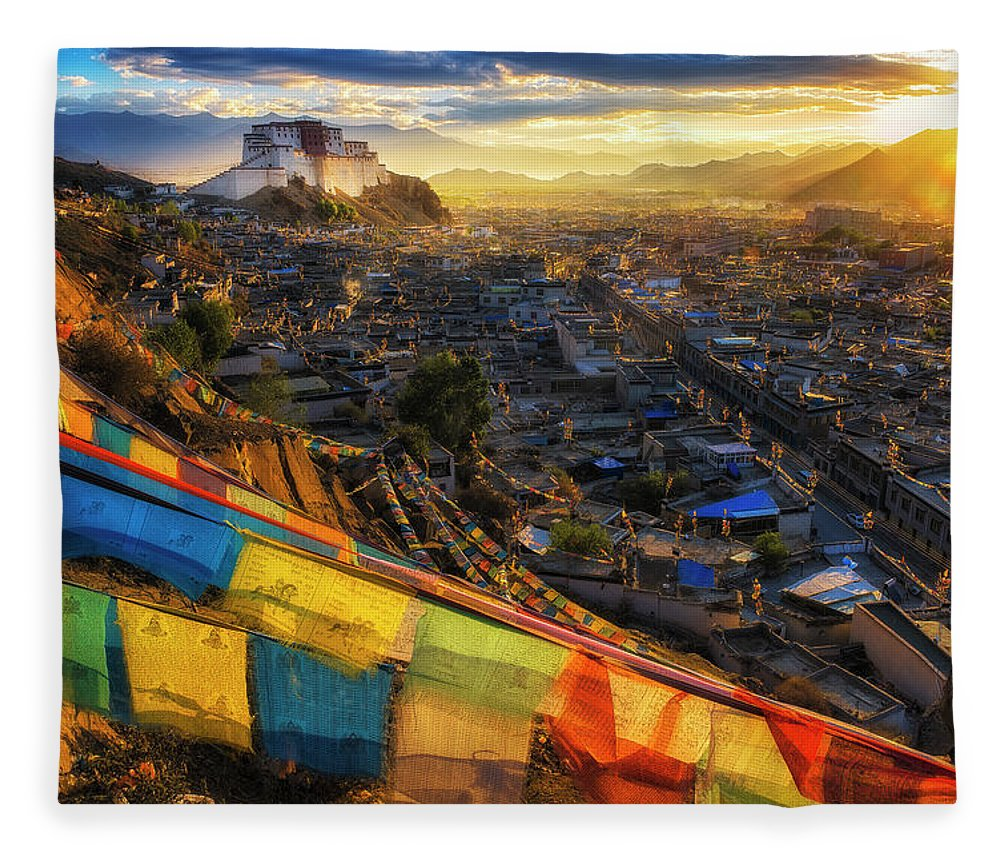Chinese Culture Fleece Blanket featuring the photograph Shigatse Monastery by Ratnakorn Piyasirisorost