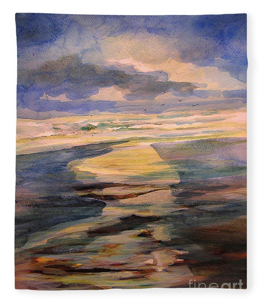 Art Fleece Blanket featuring the painting Shoreline Sunrise 11-9-14 by Julianne Felton