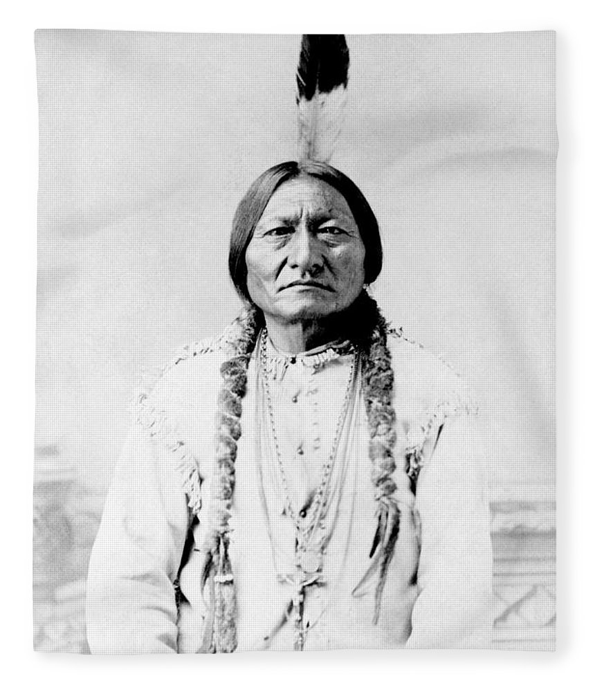 Native American Fleece Blanket featuring the photograph Sioux Chief Sitting Bull by War Is Hell Store