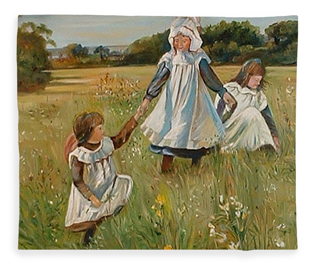 Classic Art Fleece Blanket featuring the painting Sisters by Silvana Abel
