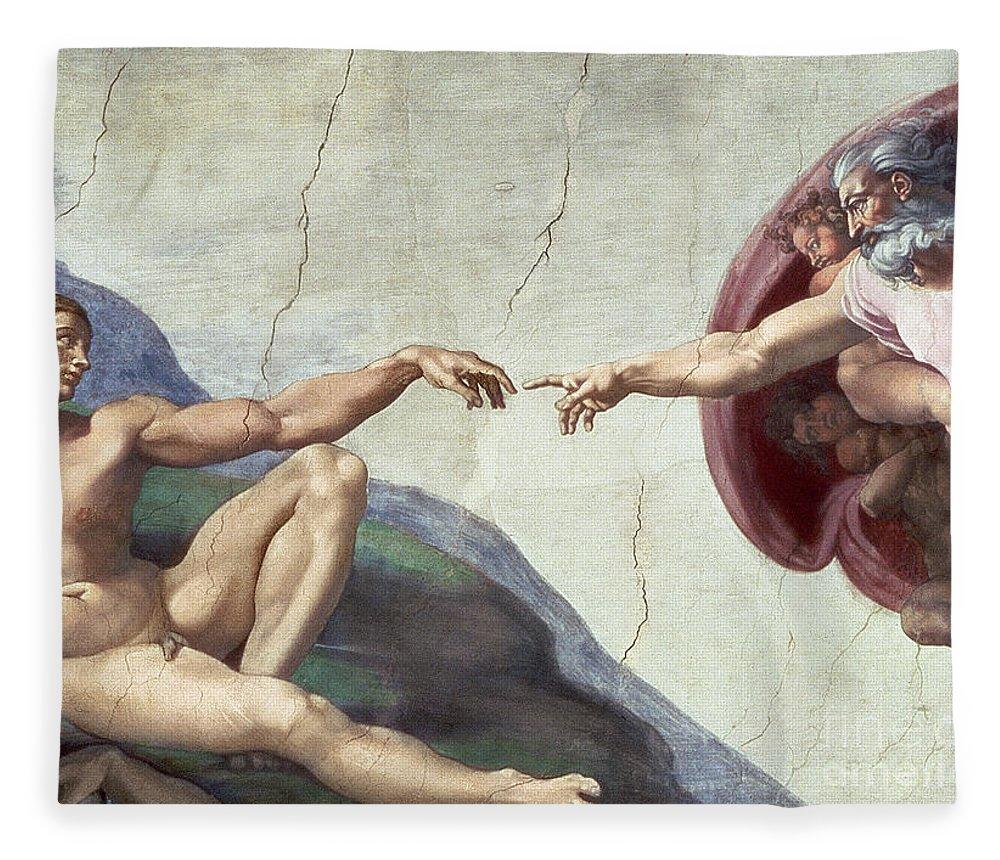 Renaissance Fleece Blanket featuring the painting Sistine Chapel Ceiling by Michelangelo Buonarroti