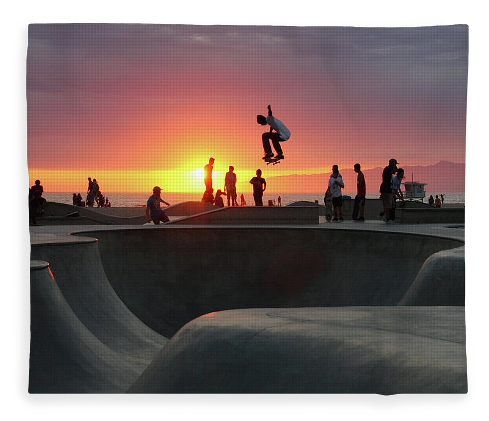Expertise Fleece Blanket featuring the photograph Skateboarding At Venice Beach by Mgs
