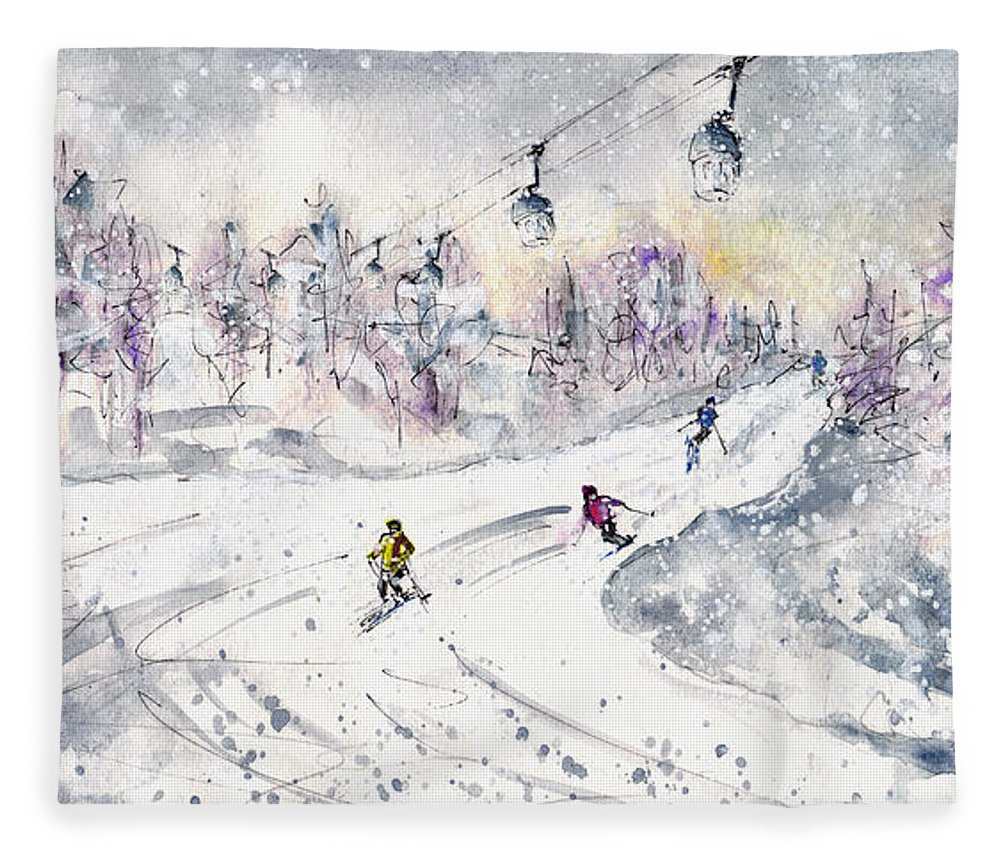 Travel Fleece Blanket featuring the painting Skiing In The Dolomites In Italy 01 by Miki De Goodaboom