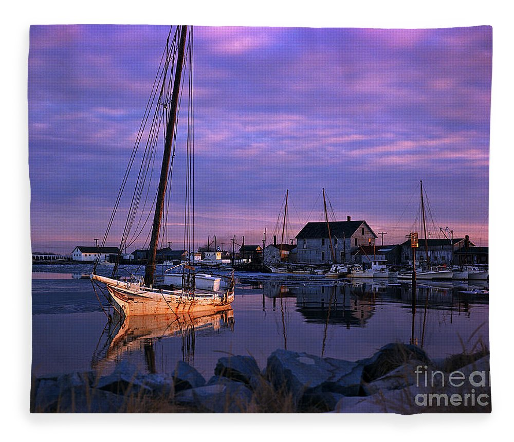 Skipjack Fleece Blanket featuring the photograph Skipjack by James L. Amos