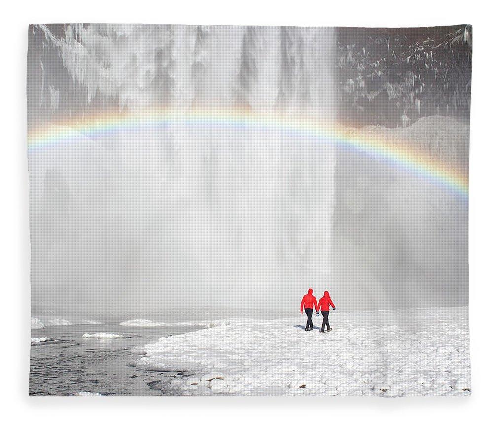 Scenics Fleece Blanket featuring the photograph Skogafoss Waterfall, Iceland by Travelpix Ltd