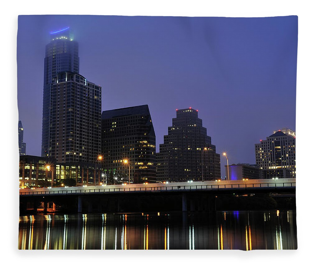 Color Image Fleece Blanket featuring the photograph Skyline And Bridge In Austin by Aimintang