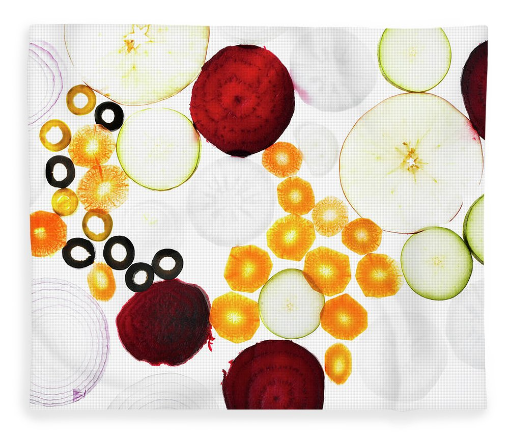 Olive Fleece Blanket featuring the photograph Sliced Vegetables On Counter by Lisbeth Hjort