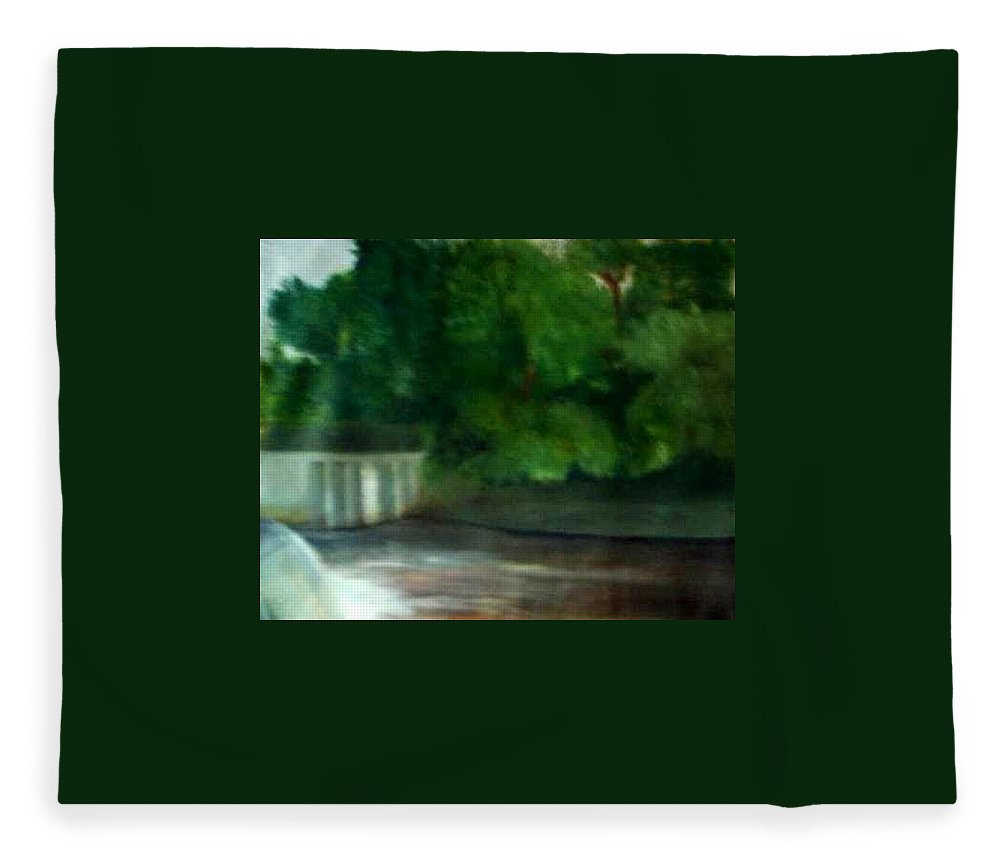 Smithville Park Fleece Blanket featuring the painting Smithville Park Dam by Sheila Mashaw