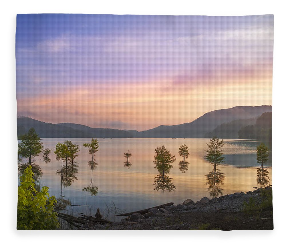 Appalachia Fleece Blanket featuring the photograph Smoky Sunset by Debra and Dave Vanderlaan