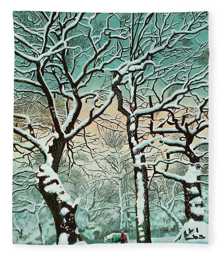 People Fleece Blanket featuring the digital art Snow In Forest by Georgette Douwma