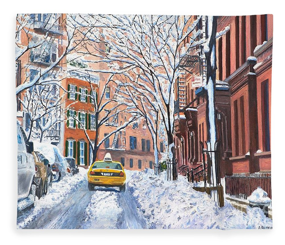 Snow Fleece Blanket featuring the painting Snow West Village New York City by Anthony Butera