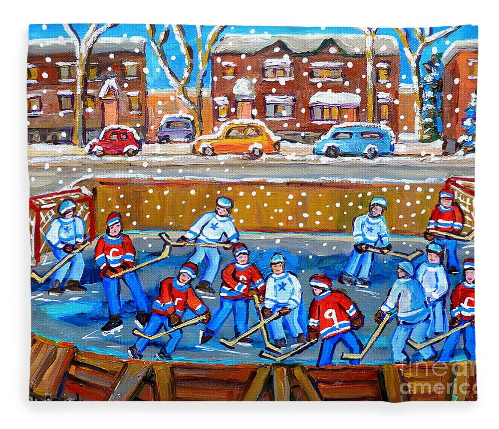 Hockey Fleece Blanket featuring the painting Snowy Rink Hockey Game Montreal Memories Winter Street Scene Painting Carole Spandau by Carole Spandau