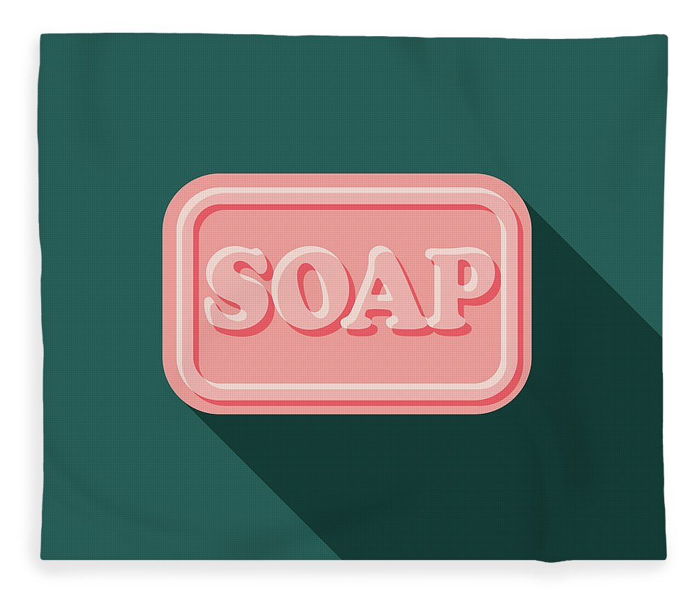 Art Fleece Blanket featuring the digital art Soap Flat Design Cleaning Icon With by Bortonia