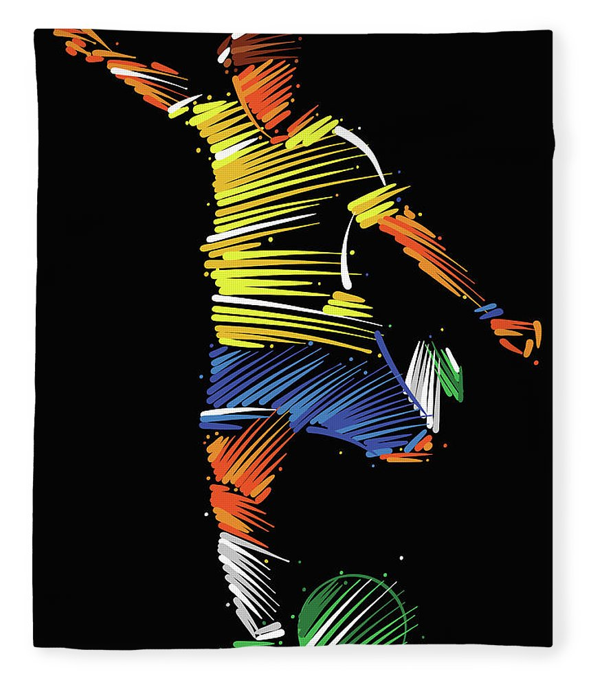 Goal Fleece Blanket featuring the digital art Soccer Player Running To Kick The Ball by Dimitrius Ramos